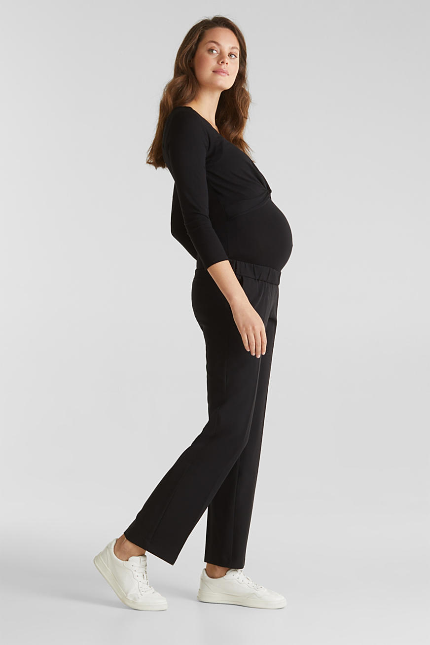 Stretch trousers with an over-bump waistband