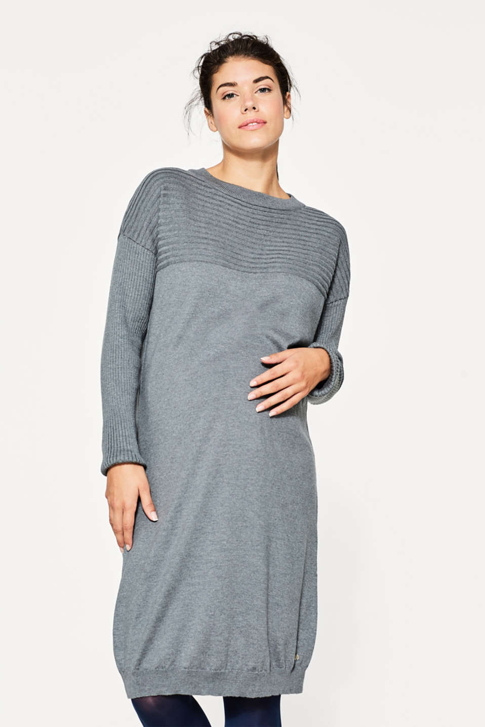 Esprit - Fine knit dress with ribbed details