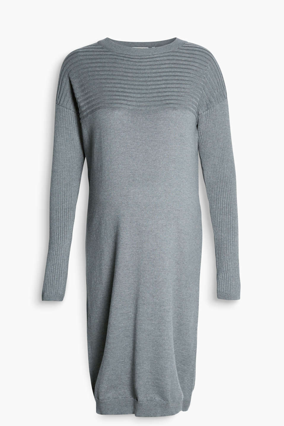 Casual fine knit dress with ribbed effects