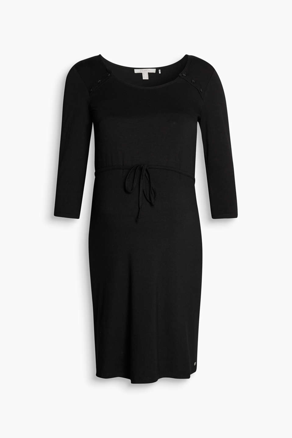 Stretch jersey dress with a button-fastening neckline