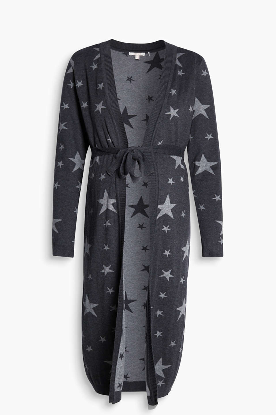 Long cardigan with star intarsia, 100% cotton