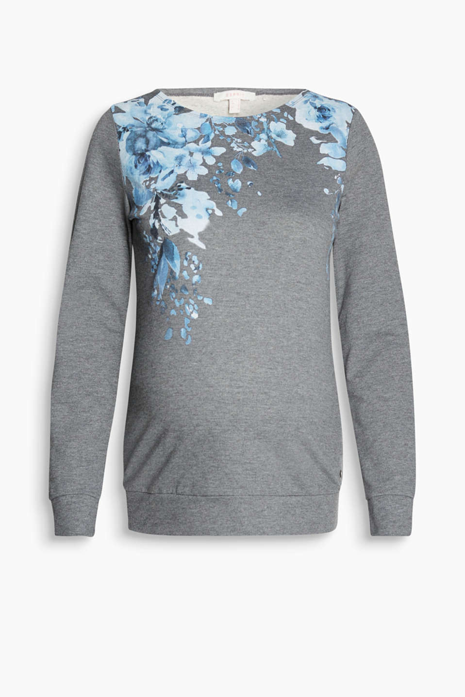 Melange sweatshirt in lightweight blended cotton with a floral print