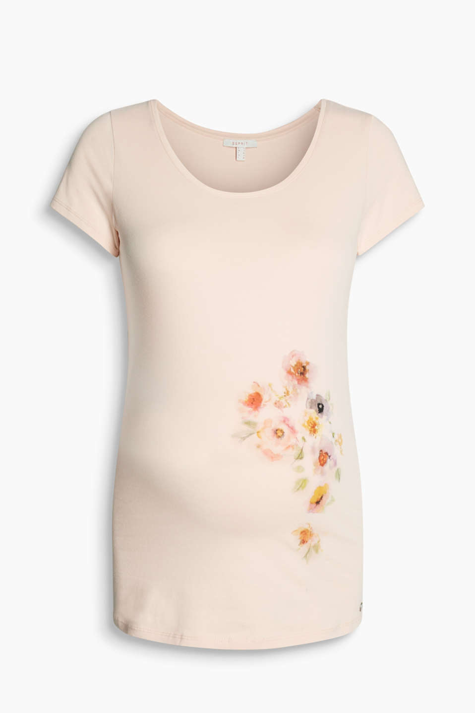 A fashion piece for during and after pregnancy: stretch cotton T-shirt with floral print