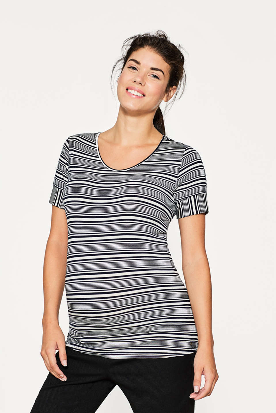Esprit - Flowing stretch top with new stripes