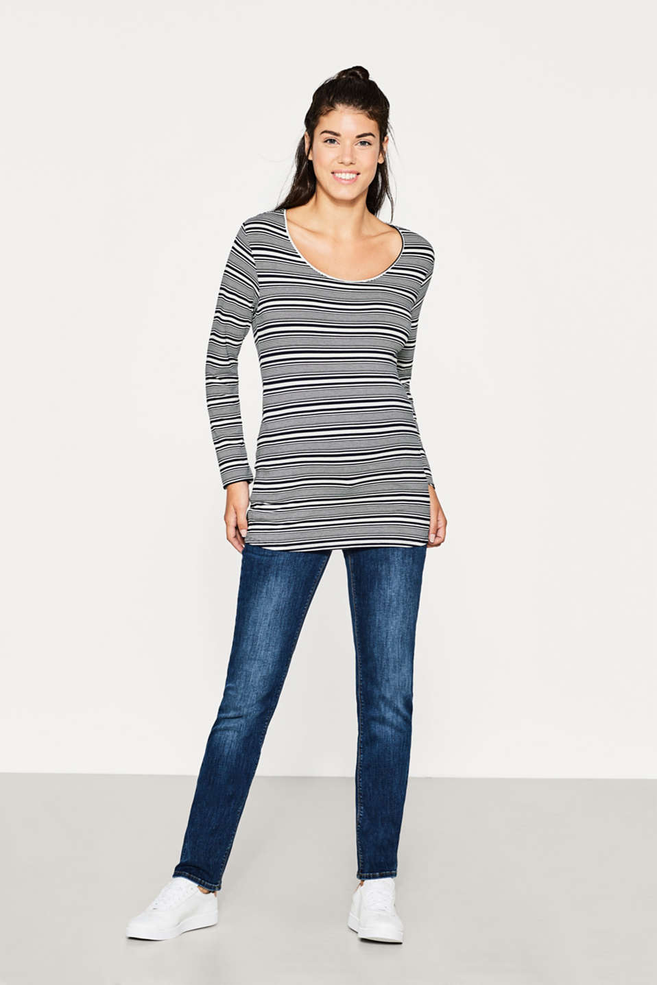 Flowing stretch long sleeve top with stripes
