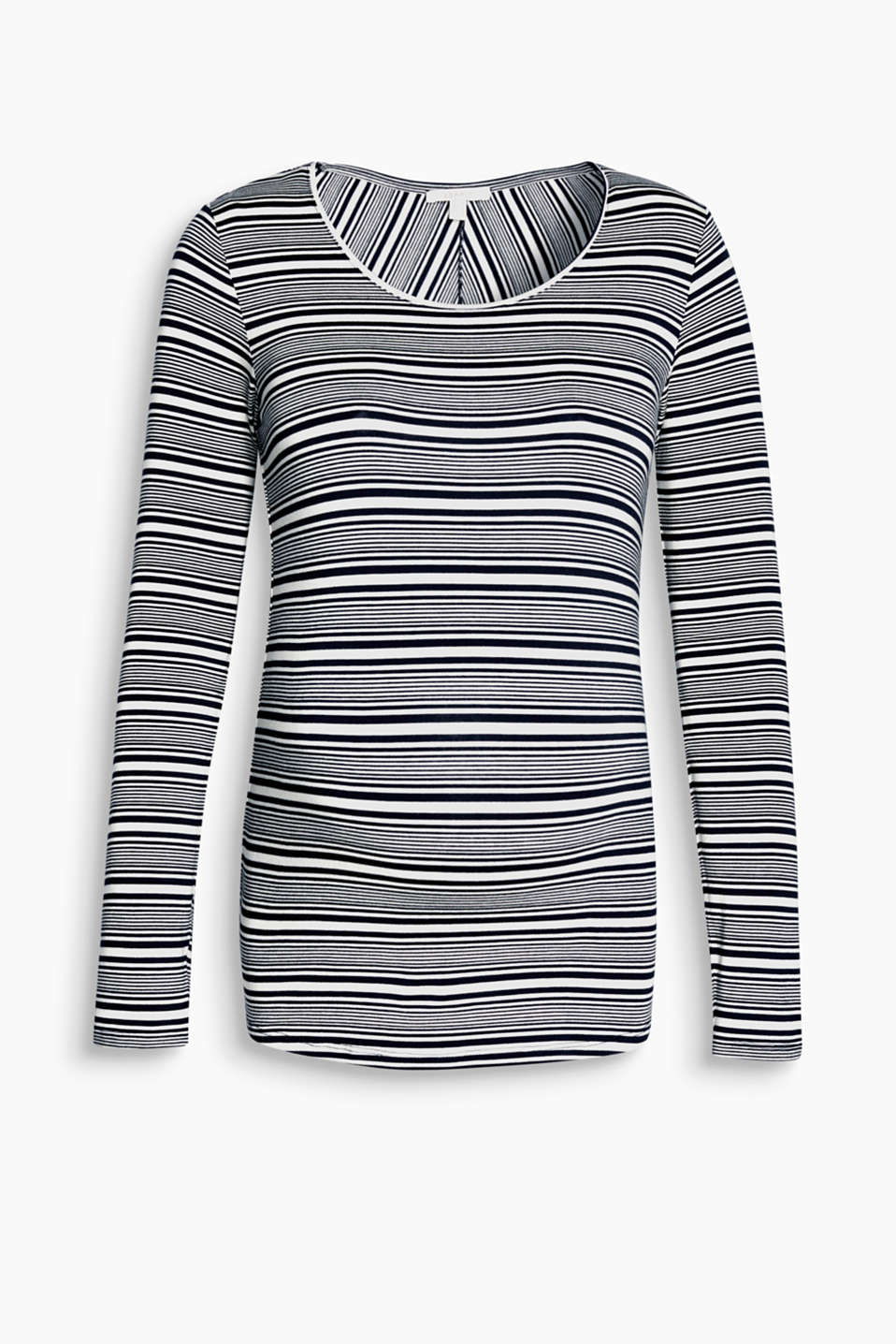 For during and after pregnancy: flowing stretch long sleeve top with a modern striped pattern
