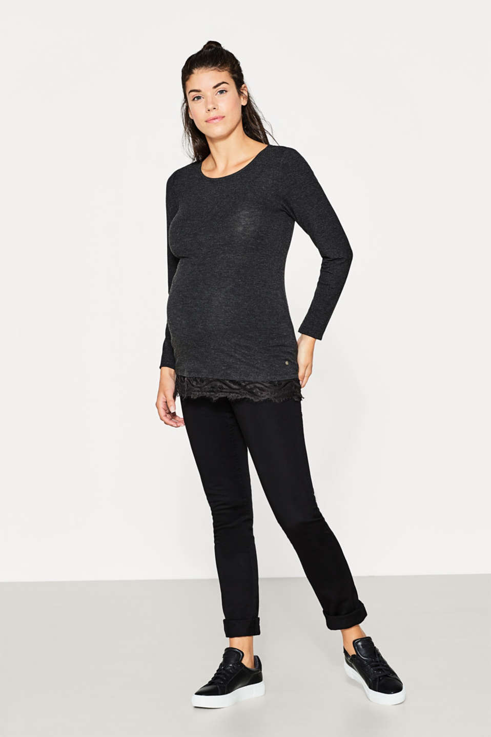 Soft stretch long sleeve top with a lace hem