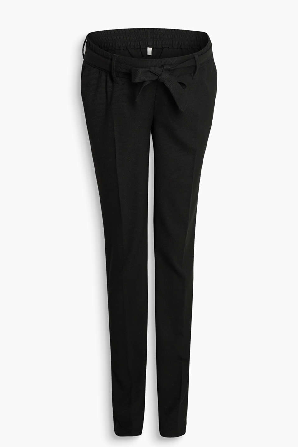 Textured woven trousers in a business look with stretch for comfort, a tie-around belt and protective under-bump waistband