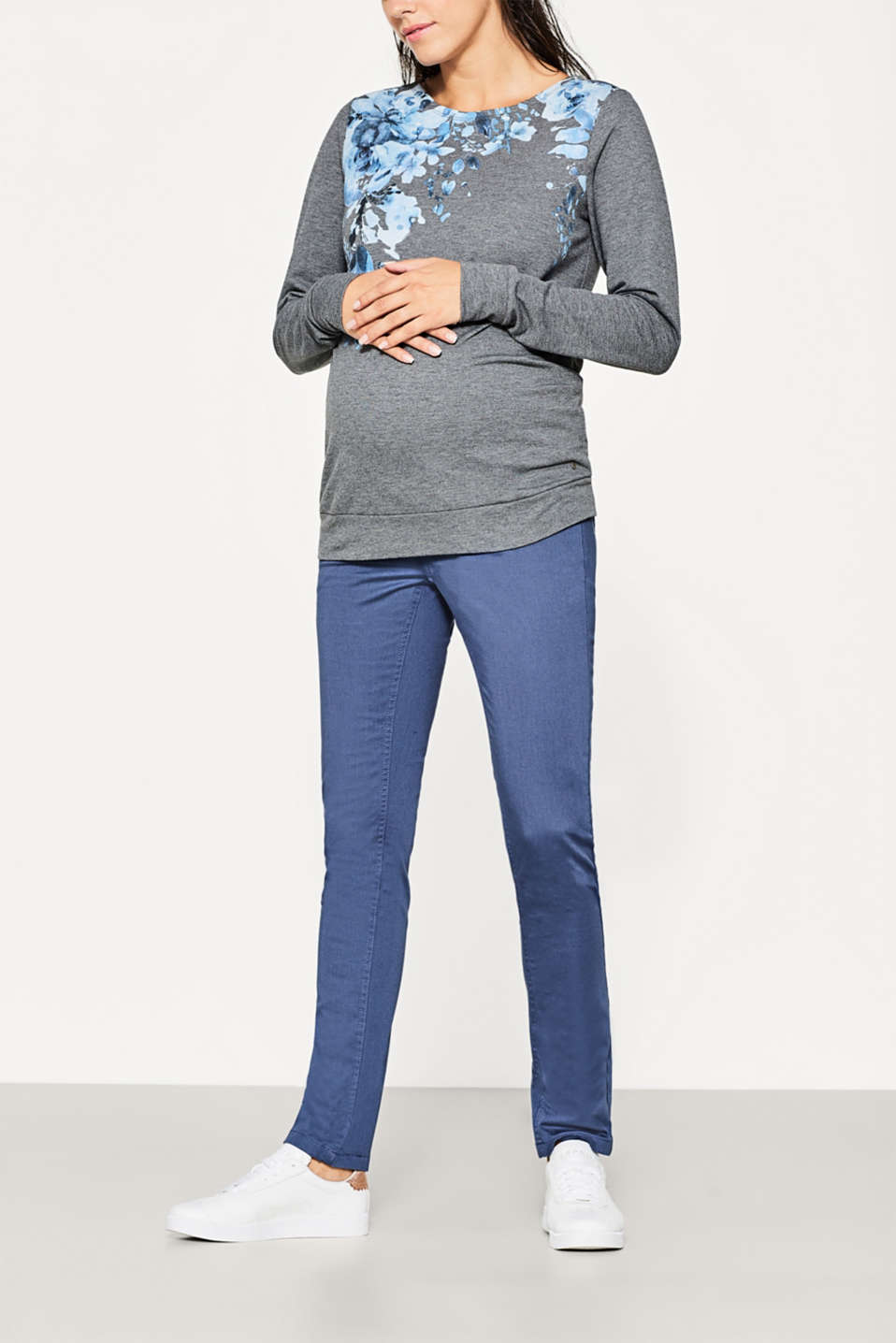 Esprit - Basic stretch trousers, over-bump waist