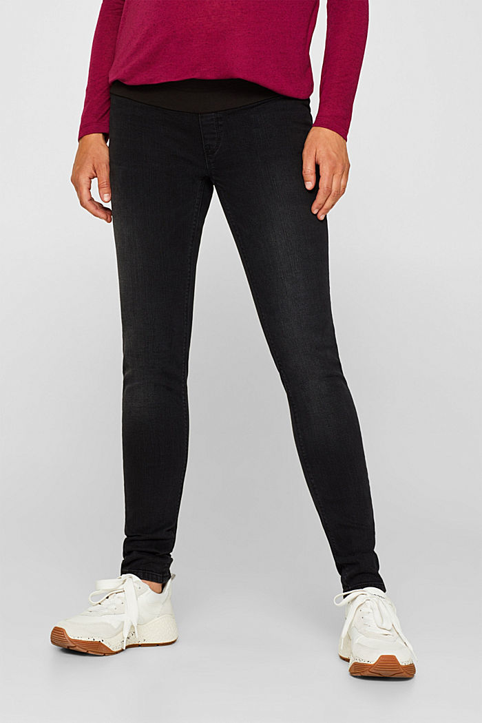 Jeggings with under-bump waistband, BLACK DARK WASHED, detail image number 0