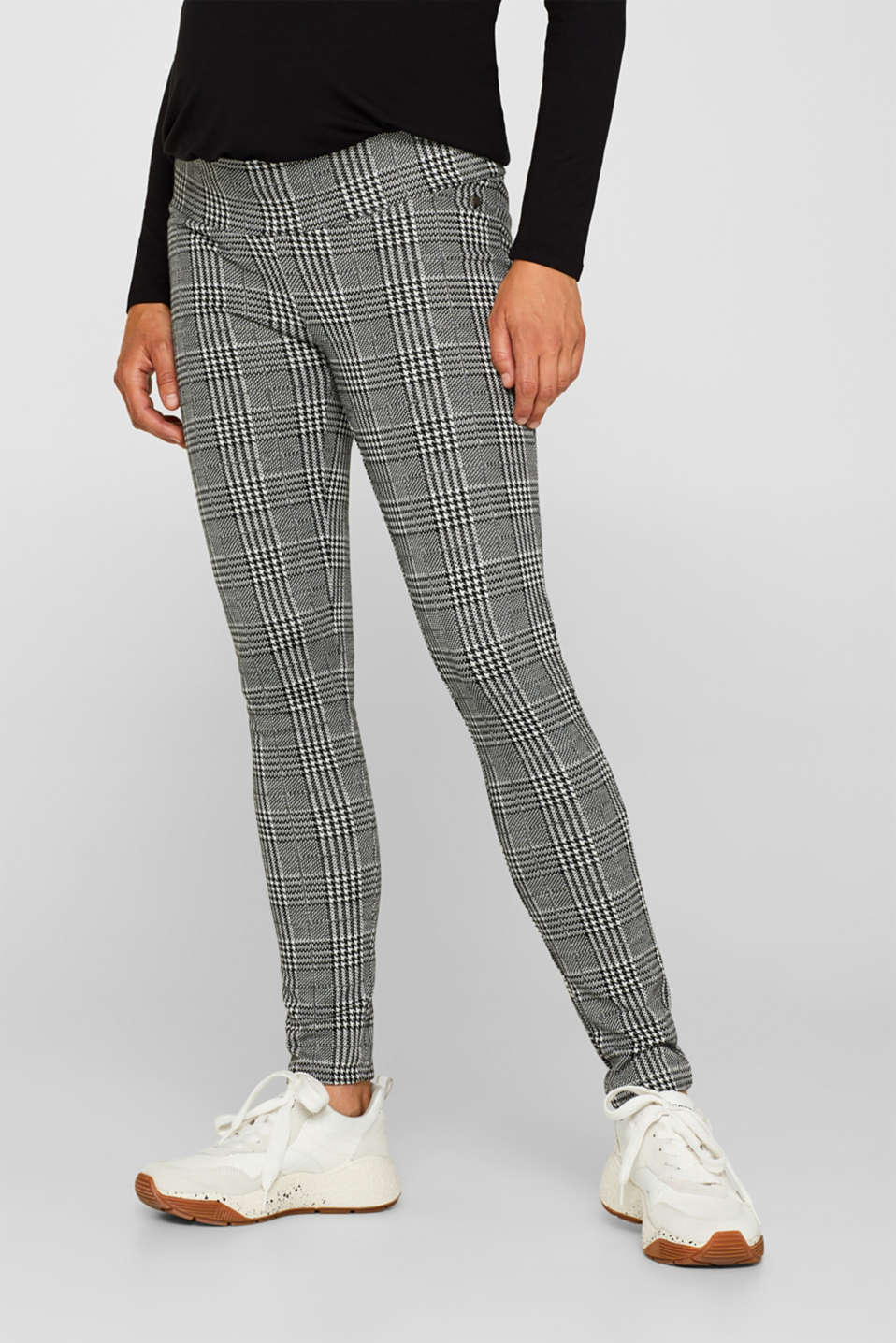Esprit - Check leggings with an under-bump waistband