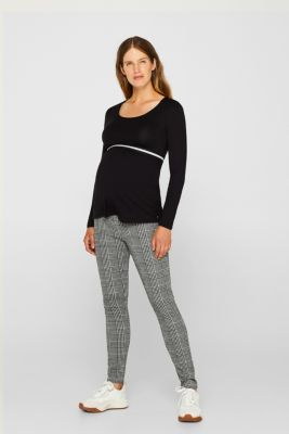Check leggings with an under-bump waistband, LCBLACK, detail