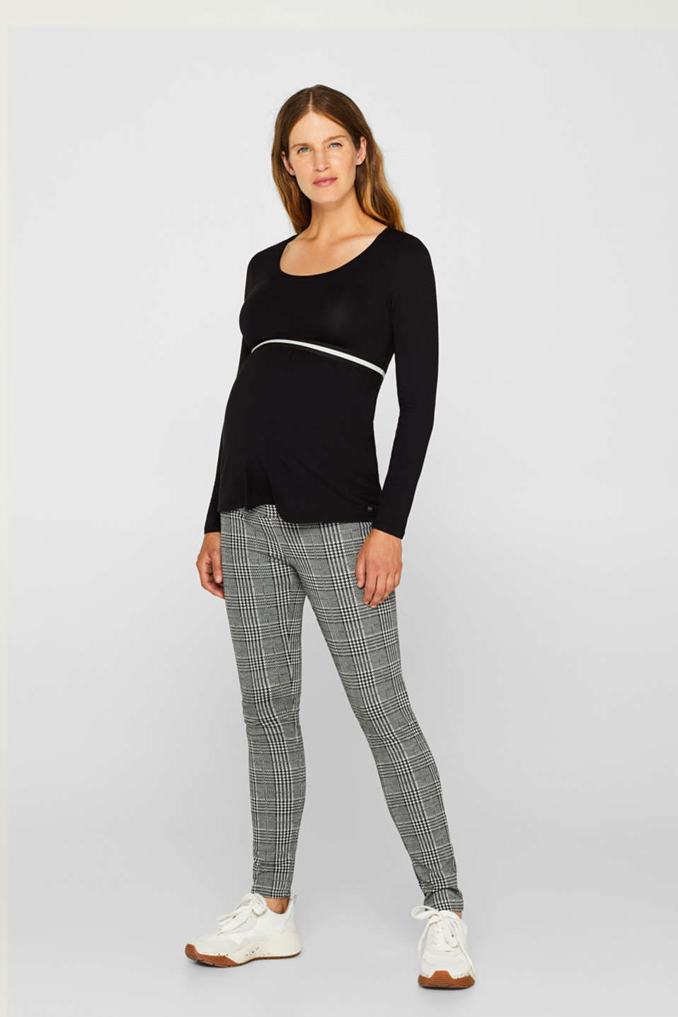 Check leggings with an under-bump waistband, LCBLACK, detail image number 1