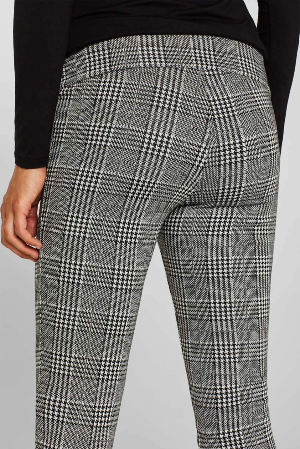 Check leggings with an under-bump waistband, LCBLACK, detail image number 2