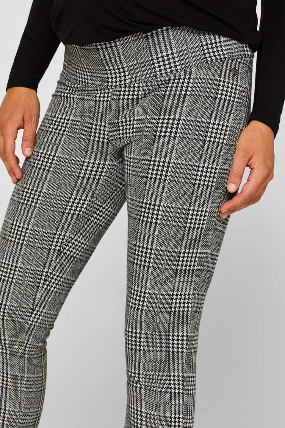 Check leggings with an under-bump waistband, LCBLACK, detail image number 5