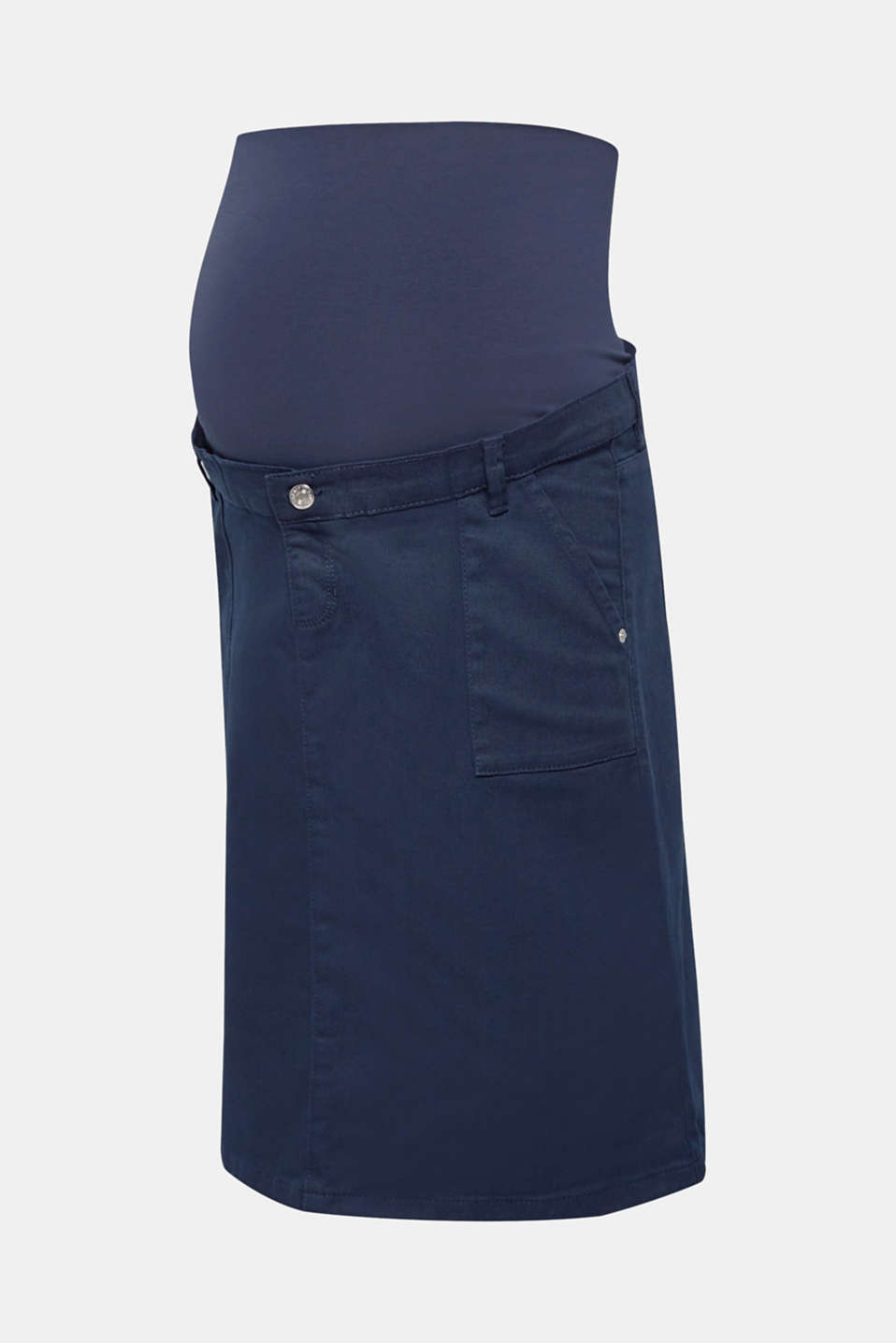 Stretch denim skirt with an over-bump waistband, LCNIGHT BLUE, detail image number 0