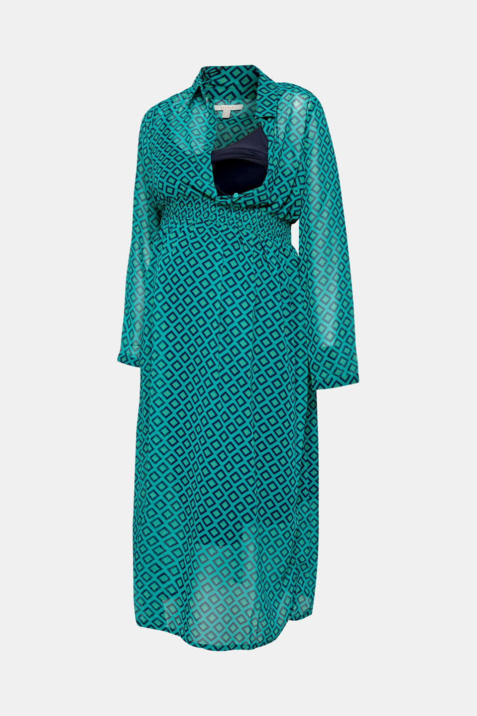 Chiffon nursing dress, LCTEAL GREEN, detail image number 1