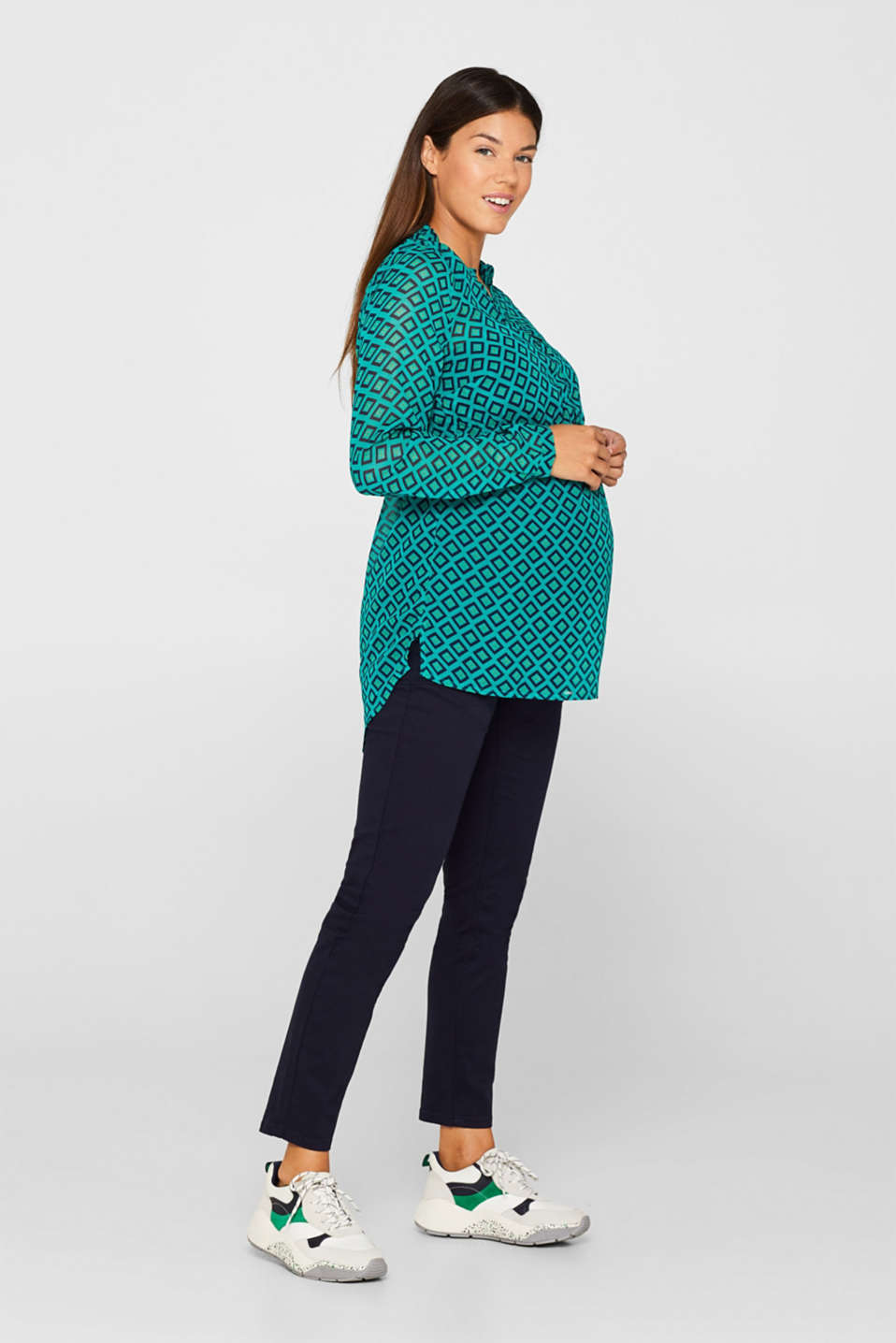 Chiffon blouse and top with a nursing function, LCTEAL GREEN, detail image number 1