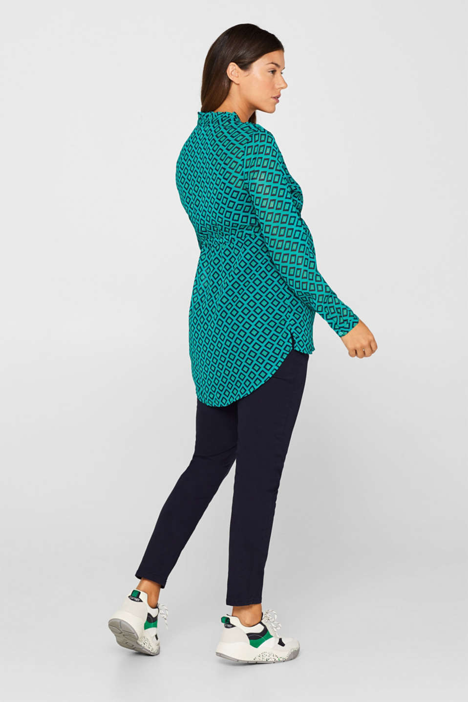 Chiffon blouse and top with a nursing function, LCTEAL GREEN, detail image number 3