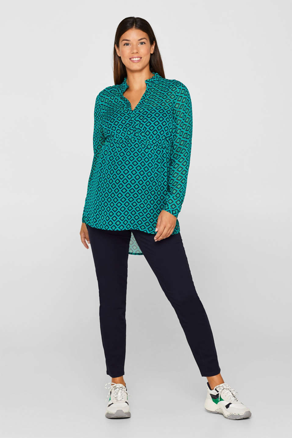Chiffon blouse and top with a nursing function, LCTEAL GREEN, detail image number 0