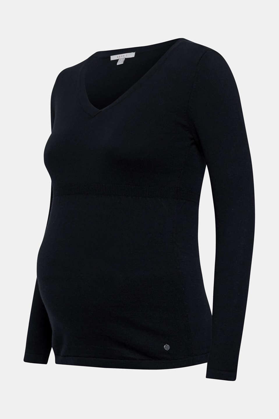 V-neck jumper with cashmere/wool, LCBLACK, detail image number 5