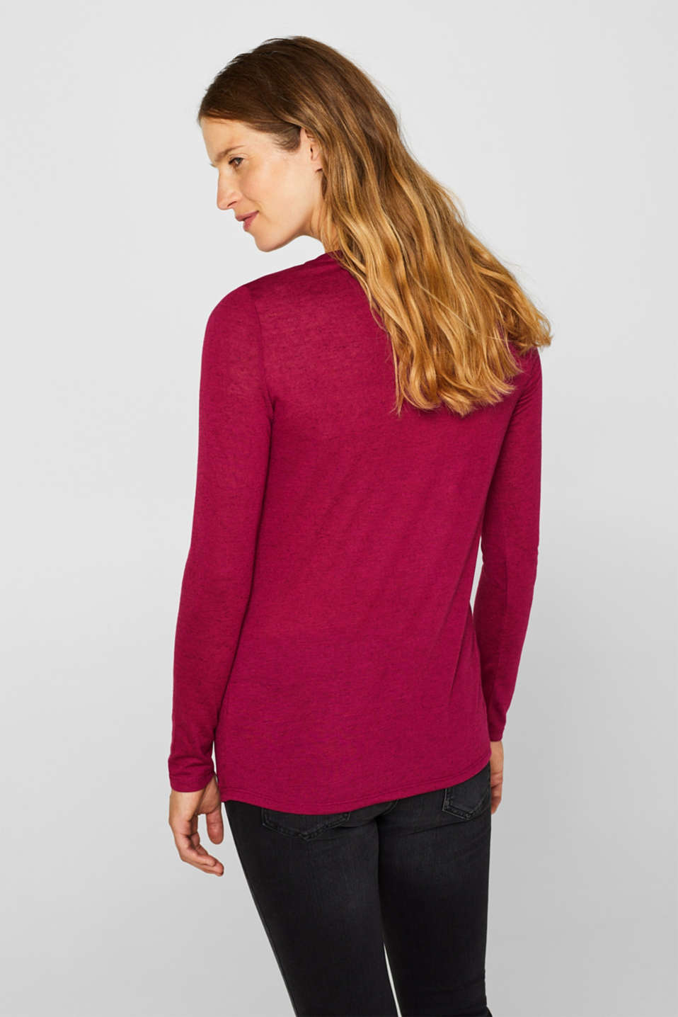 With linen: melange long sleeve top with a front pleat, PLUM RED, detail image number 3