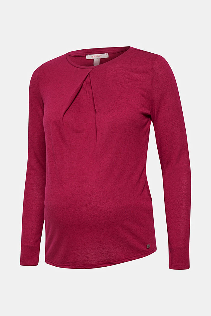 With linen: melange long sleeve top with a front pleat, PLUM RED, overview