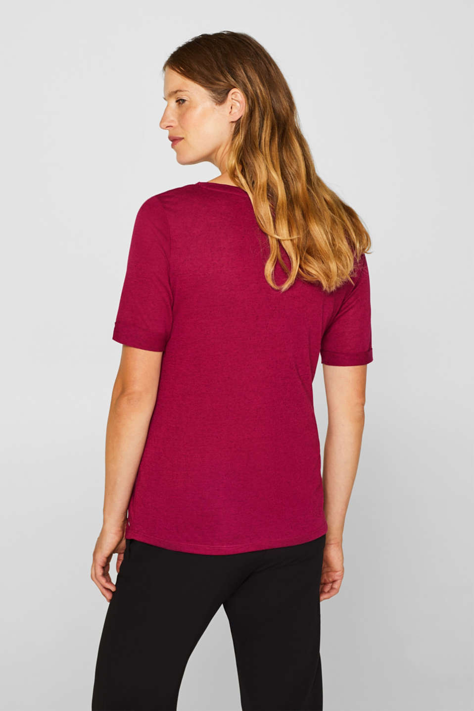 Top with linen and turn-up sleeves, LCPLUM RED, detail image number 3