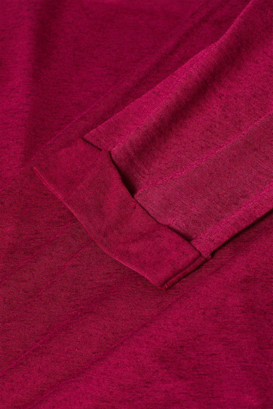 Top with linen and turn-up sleeves, LCPLUM RED, detail image number 4