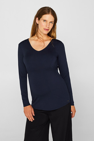 Stretch long sleeve top with smocked details
