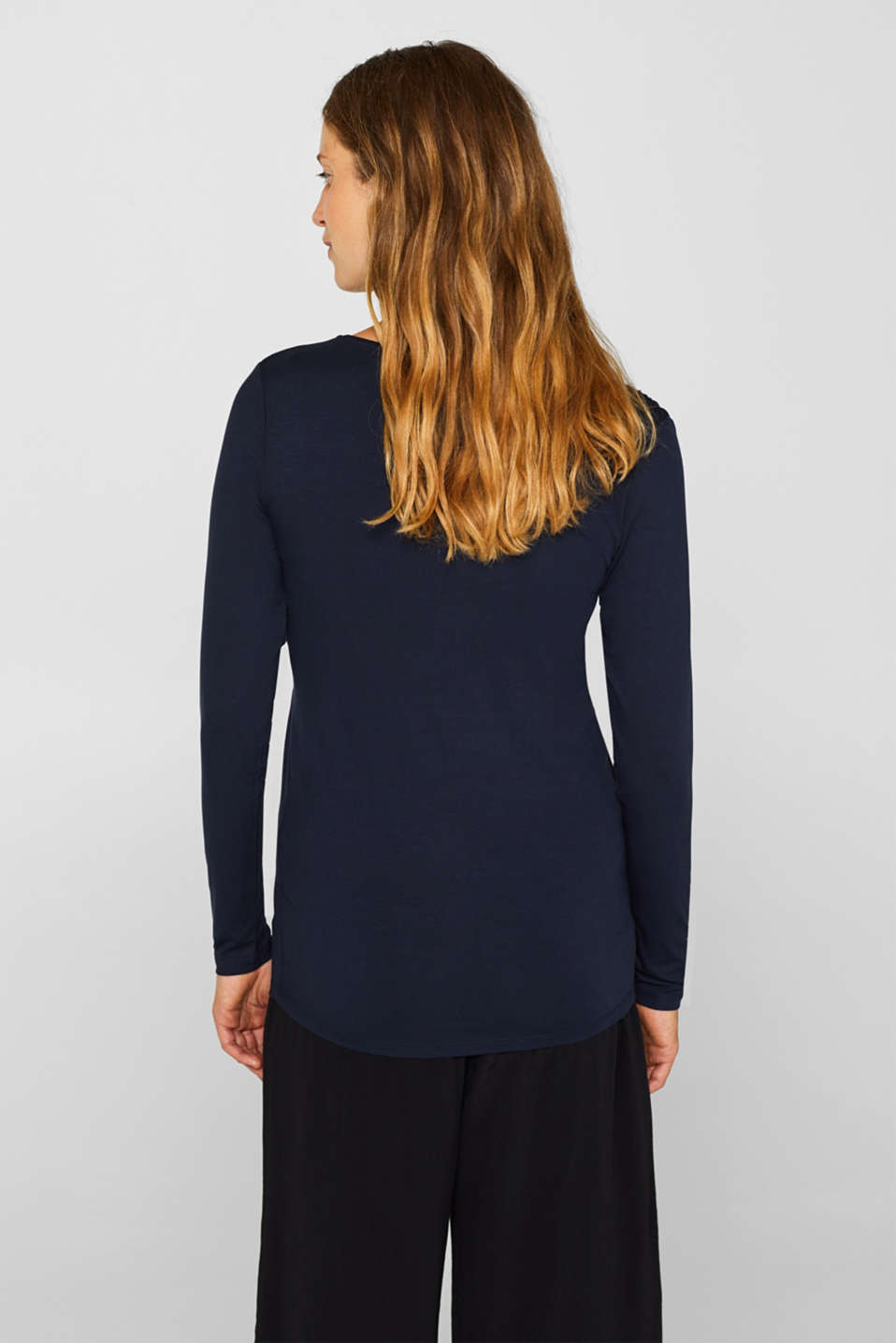 Stretch long sleeve top with smocked details, LCNIGHT BLUE, detail image number 3