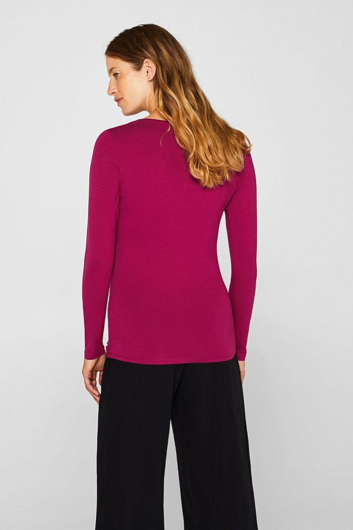 Stretch long sleeve top with a print, PLUM RED, detail image number 3