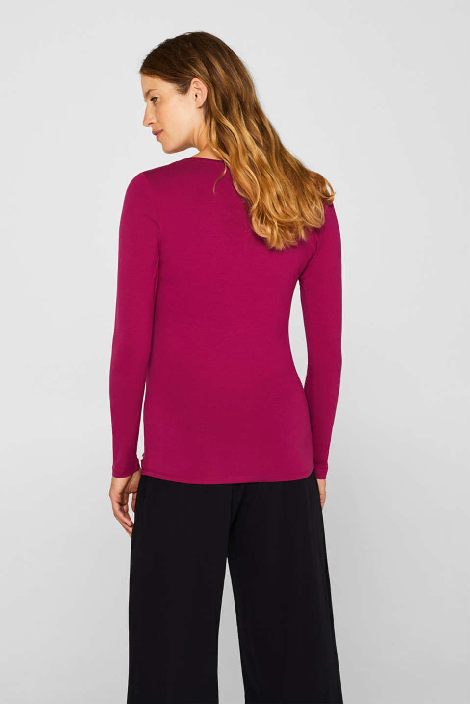 Stretch long sleeve top with a print, LCPLUM RED, detail image number 3