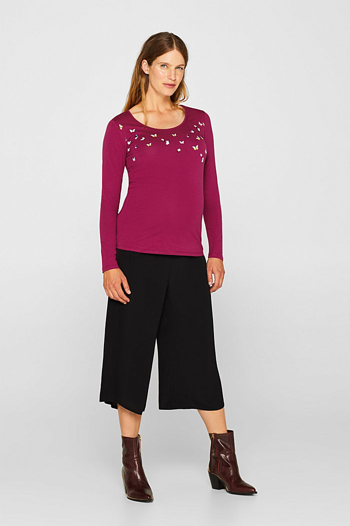 Stretch long sleeve top with a print, PLUM RED, detail image number 1