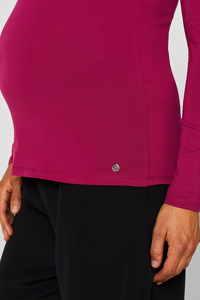 Stretch long sleeve top with a print, PLUM RED, detail image number 2