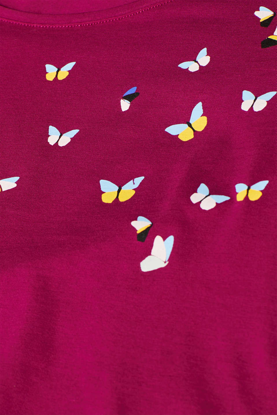 Stretch long sleeve top with a print, LCPLUM RED, detail image number 4