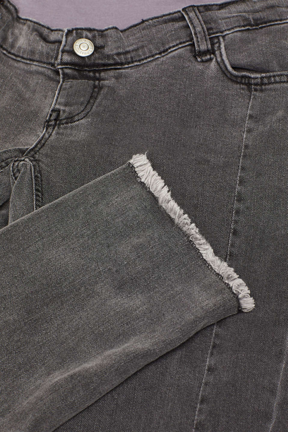 Stretch jeans with an over-bump waistband, LCGREY DARK WASH, detail image number 1