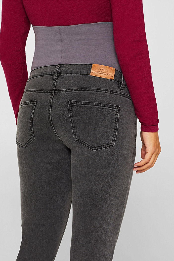 Stretch jeans with an over-bump waistband, GREY DARK WASHED, detail image number 2