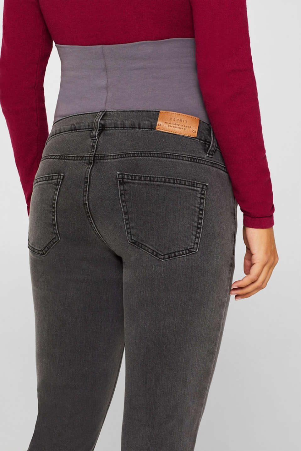 Stretch jeans with an over-bump waistband, LCGREY DARK WASH, detail image number 2