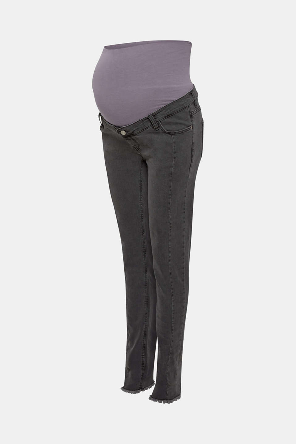 Stretch jeans with an over-bump waistband, LCGREY DARK WASH, detail image number 3