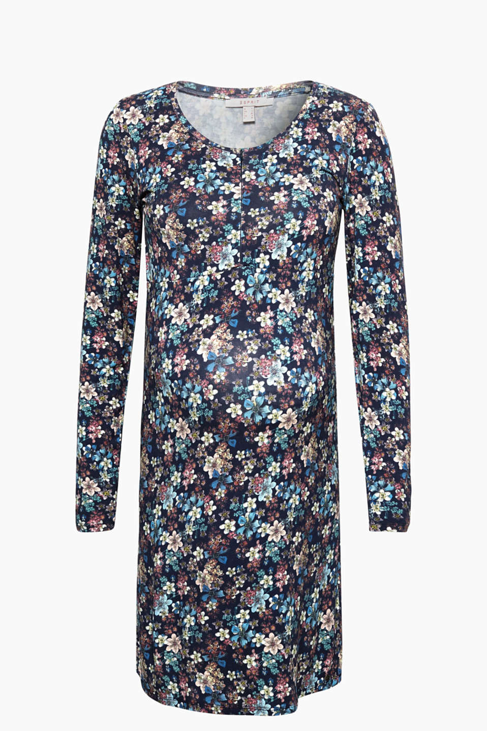 With a nursing function thanks to the built-in bodice in the front and a centre zip: Stretch jersey dress with a floral print