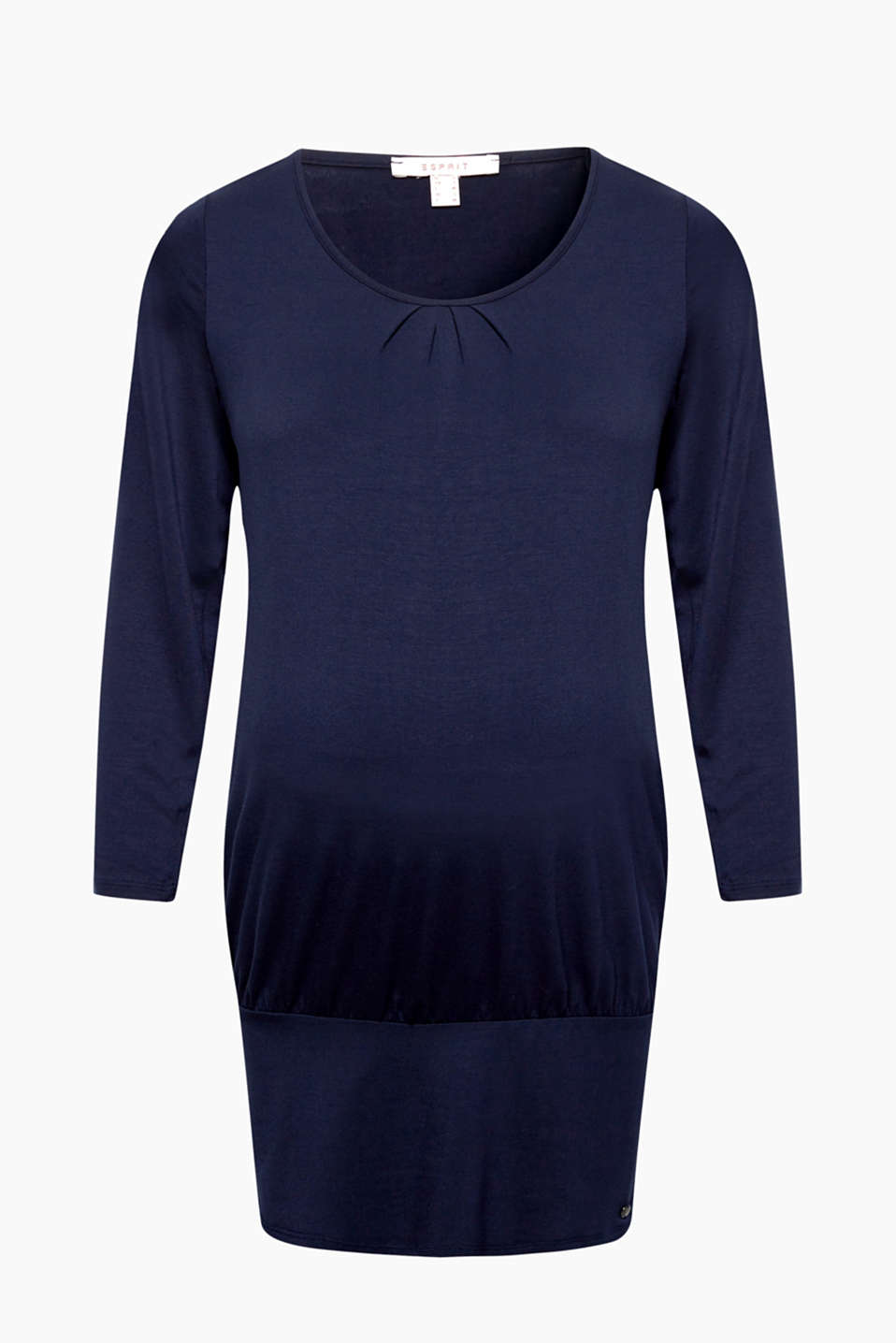 Pleats and three-quarter sleeves - this jersey tunic featuring a deep hem border is fantastically feminine!