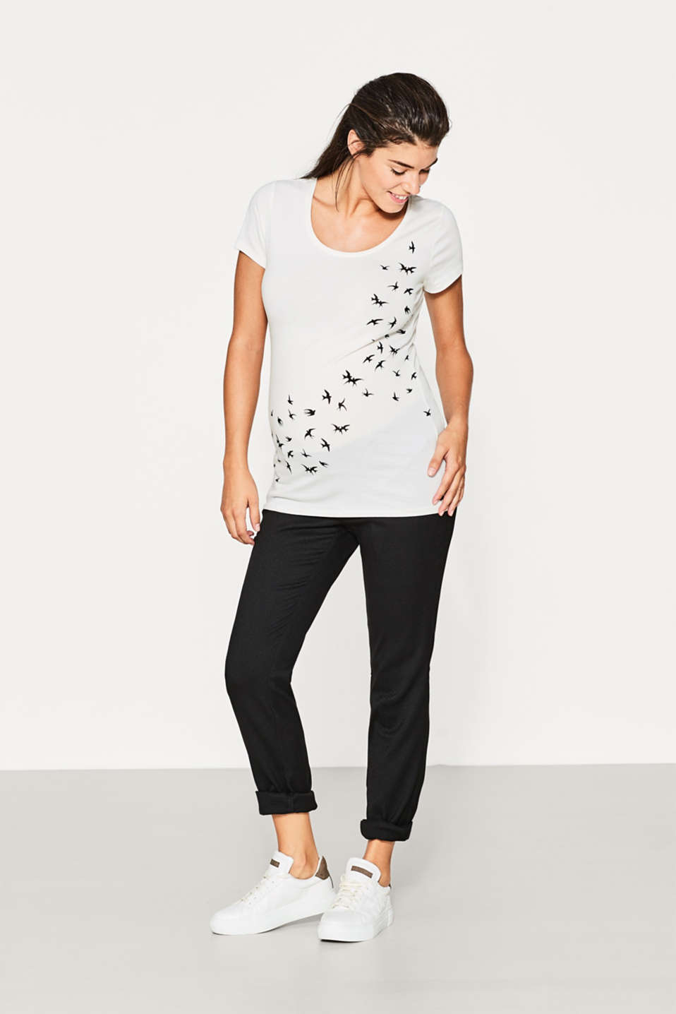 Stretch T-shirt with a swallow print