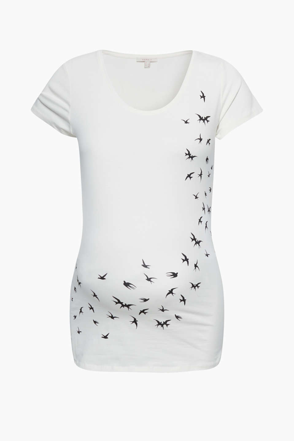 Gliding swallows: this stretch T-shirt features a beautiful decorative print!
