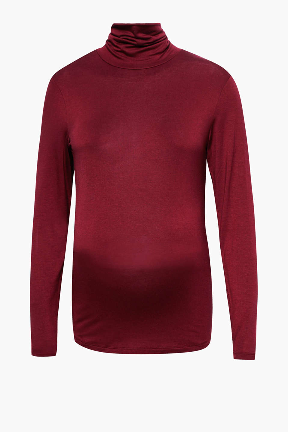 Versatile basic made of skin-friendly fabric: long sleeve jersey top with a silky shimmer and added stretch for comfort