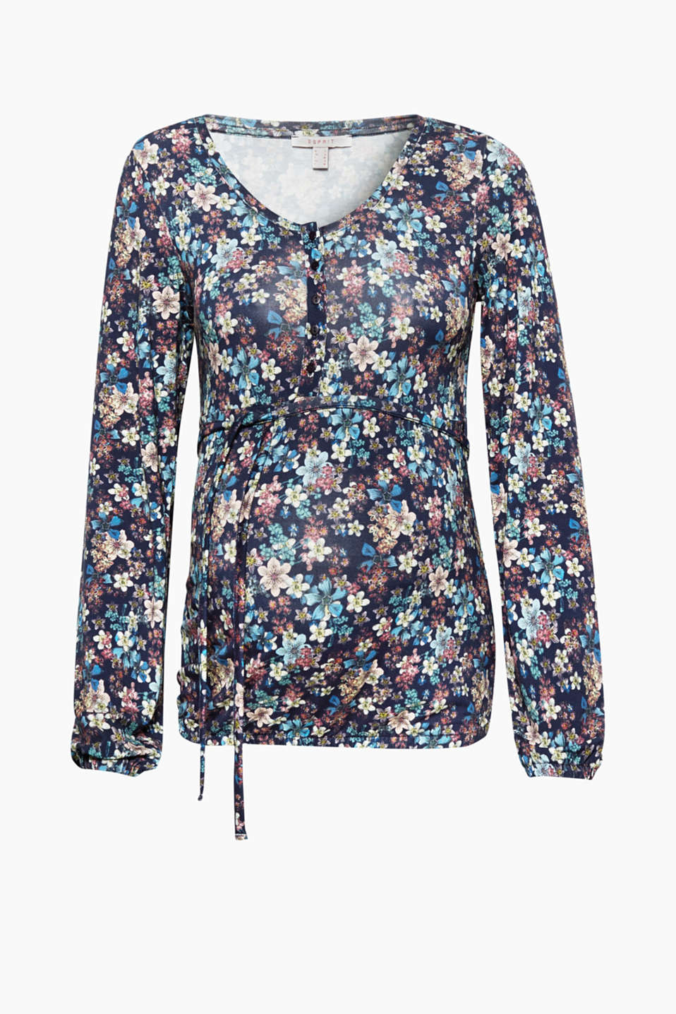 With a nursing function thanks to the built-in bodice in the front and long button placket: long sleeve top with a floral print