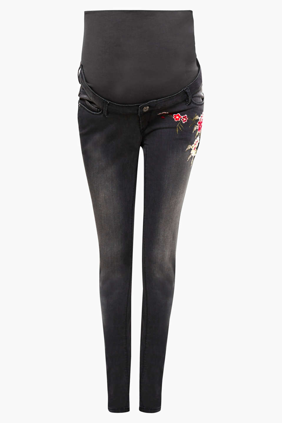 We love floral embroidery! The front pocket on these grey stretch jeans is sure to turn heads!