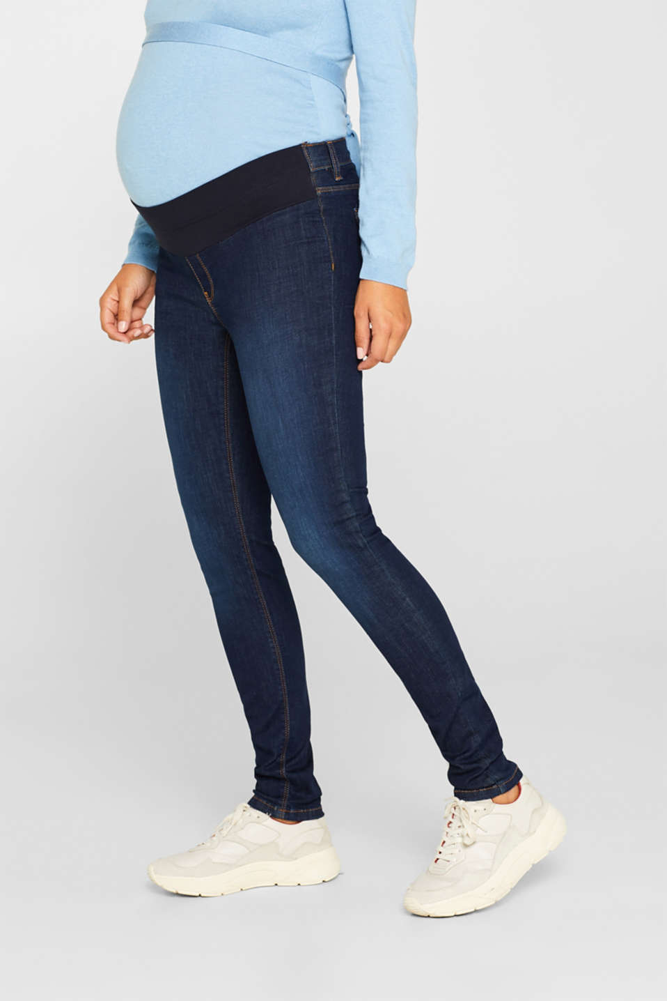 Stretch jeggings with an under-bump waistband, LCDARKWASH, detail image number 0