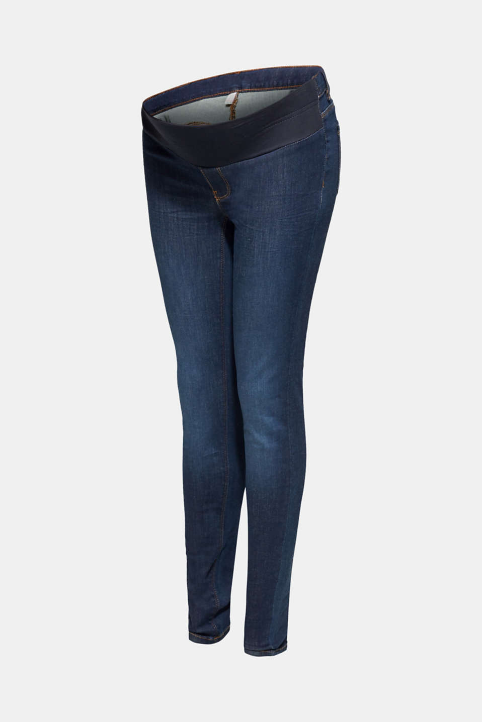 Stretch jeggings with an under-bump waistband, LCDARKWASH, detail image number 6