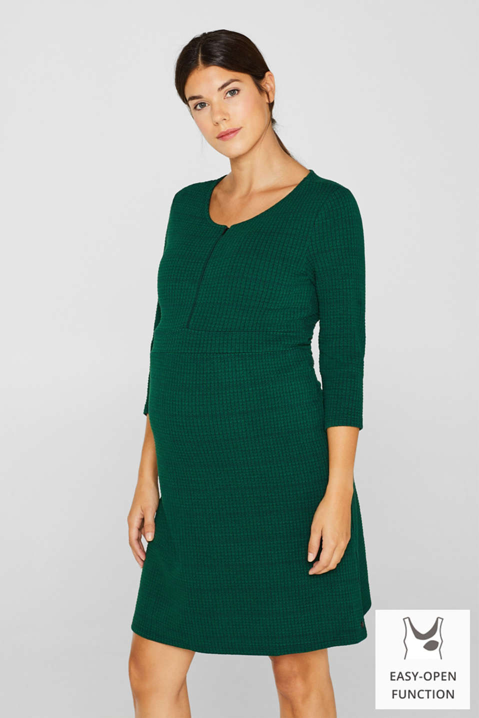 Textured dress with a nursing function, LCBOTTLE GREEN, detail image number 0